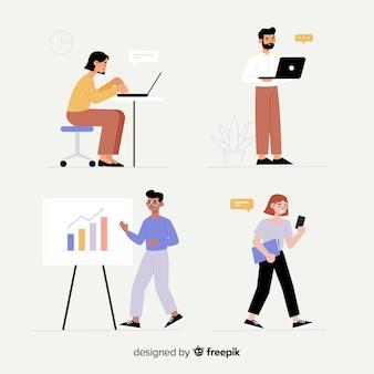 Ilustración de personas que trabajan en la oficina