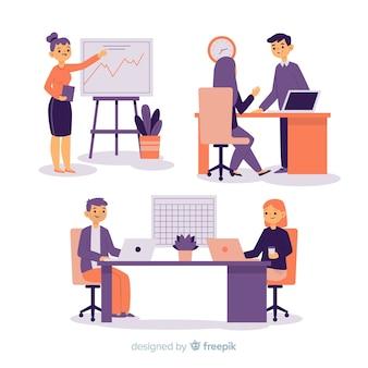 Ilustración de personas que trabajan en la oficina.