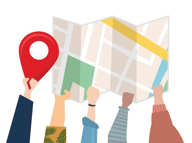 Ilustración de personas que usan un mapa para la dirección.