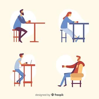 Ilustración de personas sentadas en un café