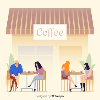 Ilustración de personas sentadas en la cafetería