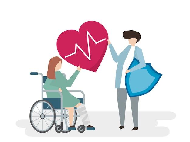 Ilustración de personas con servicio de atención médica.