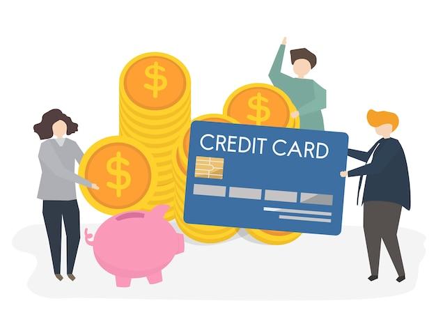 Ilustración de personas con tarjeta de crédito y dinero.