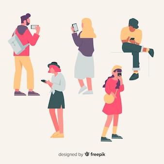 Ilustración con personas con teléfonos inteligentes
