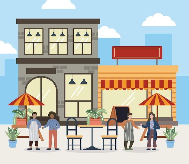 Ilustración de personas y tiendas.