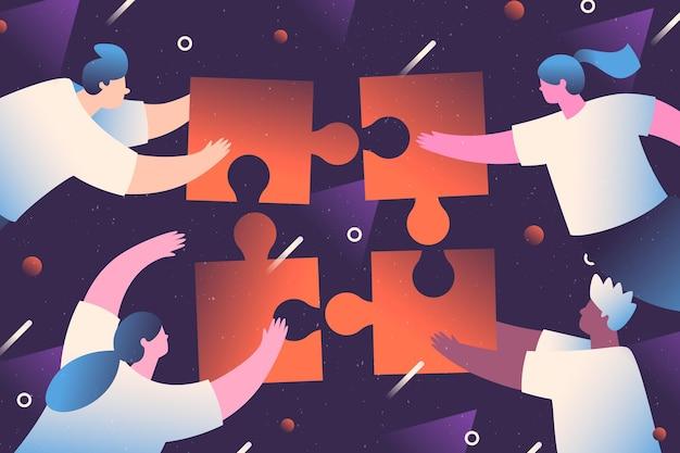 Ilustración de personas trabajando en equipo