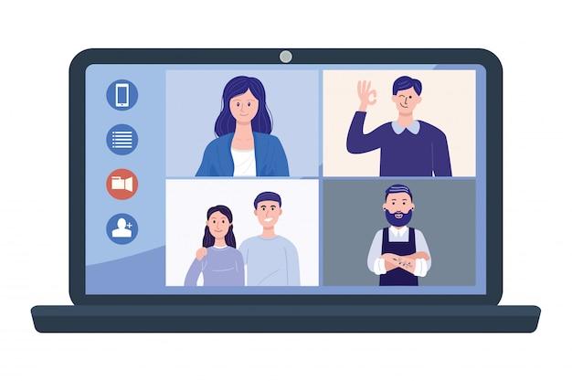 Ilustración de personas en video conferencia en la computadora portátil.
