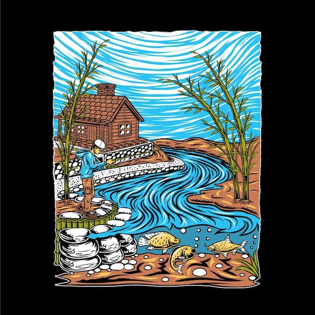 Ilustración de pesca en el río.