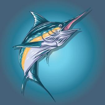 Ilustración de pez marlin
