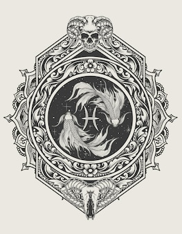 Ilustración pez símbolo del zodíaco piscis con estilo de adorno de grabado