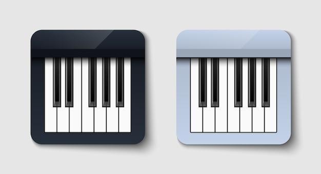 Ilustración de piano en blanco y negro sobre fondo blanco.