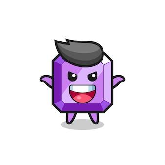 La ilustración de la piedra preciosa púrpura linda haciendo gesto de miedo, diseño de estilo lindo para camiseta, pegatina, elemento de logotipo
