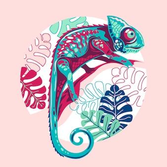 Ilustración piel de camaleón exótica multicolor.