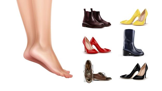Ilustración de pies femeninos de pie sobre los dedos de los pies y colección de diferentes zapatos sobre fondo blanco.