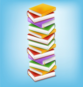 Ilustración de la pila de libros