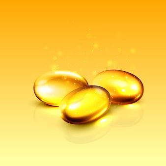 Ilustración de píldora cápsula de colágeno de aceite de oro.