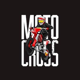 Ilustración del piloto de motocross
