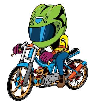 Ilustración piloto de motos de carreras de arrastre