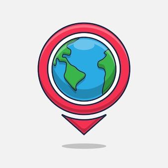 Ilustración de pin de ubicación con tierra