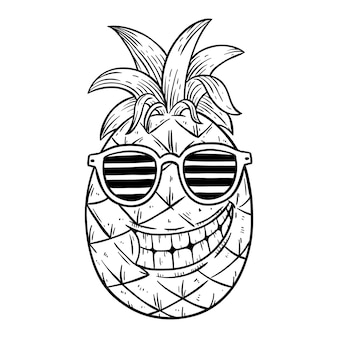 Ilustración de piña fresca de verano con gafas con dibujado a mano o estilo boceto