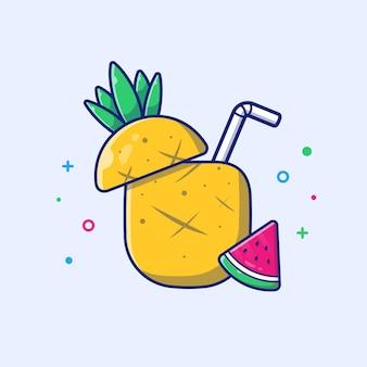 Ilustración de piña y melón de agua. comida y bebida de verano. concepto de vacaciones blanco aislado