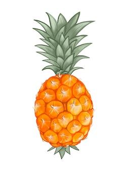 Ilustración de piña tropical fresca entera