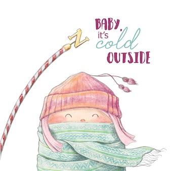 Ilustración pintada a mano de niña de invierno de dibujos animados