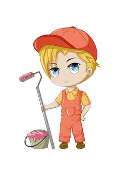 Ilustración de pintor masculino de dibujos animados