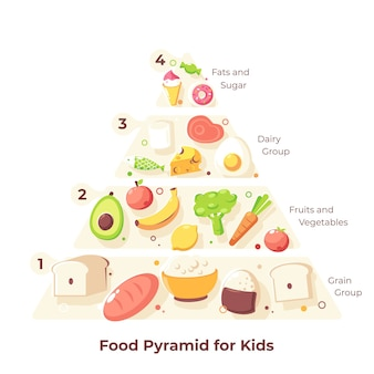 Ilustración de la pirámide alimenticia