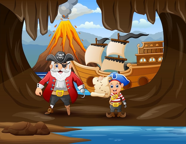Ilustración de piratas en cueva cerca del mar.