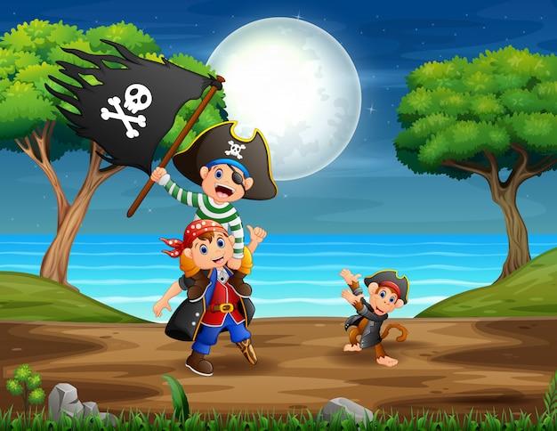 Ilustración de los piratas en la jungla