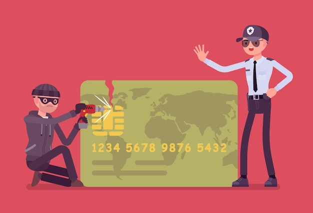 Ilustración de piratería de tarjetas de crédito