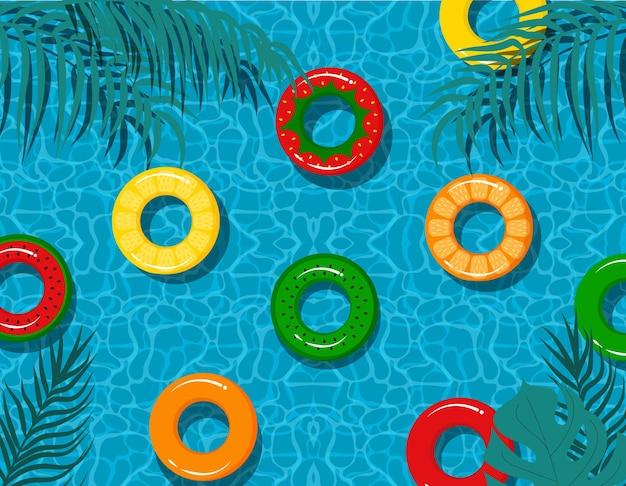 Ilustración de piscina. textura azul del horario de verano.