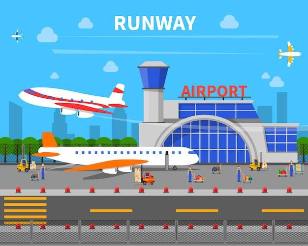 Ilustración de pista de aeropuerto