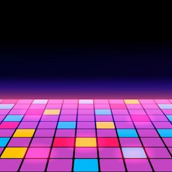 Ilustración de una pista de baile entre el espacio abierto estrellado.