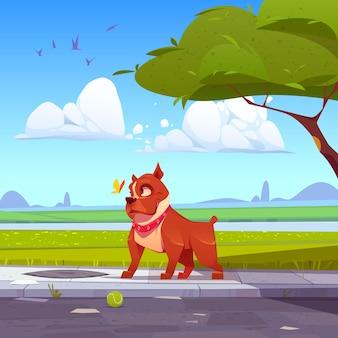 Ilustración de pitbull adorable de dibujos animados