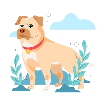 Ilustración de pitbull adorable plana
