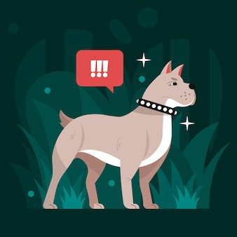 Ilustración de pitbull de diseño plano