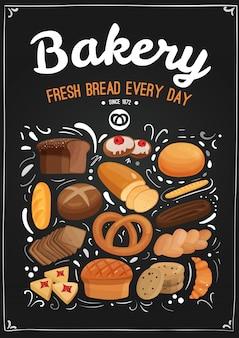 Ilustración de pizarra de panadería