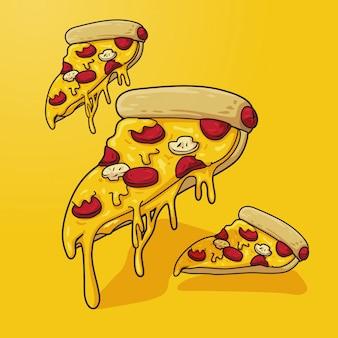 Ilustración de pizza en amarillo