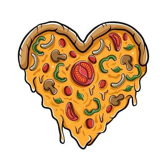 Ilustración de pizza de amor