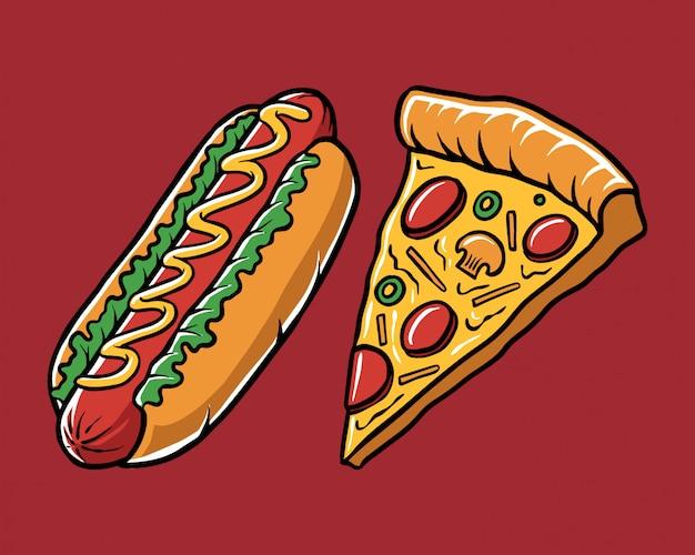 Ilustración pizza de perro caliente