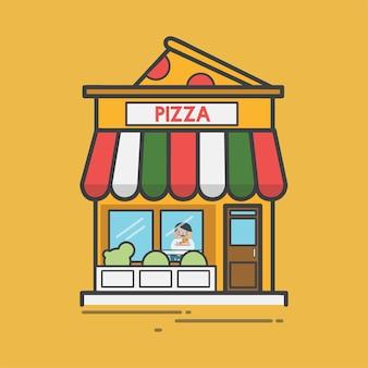 Ilustración de una pizzería