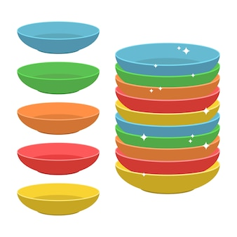 Ilustración de placas de colores aislado en blanco