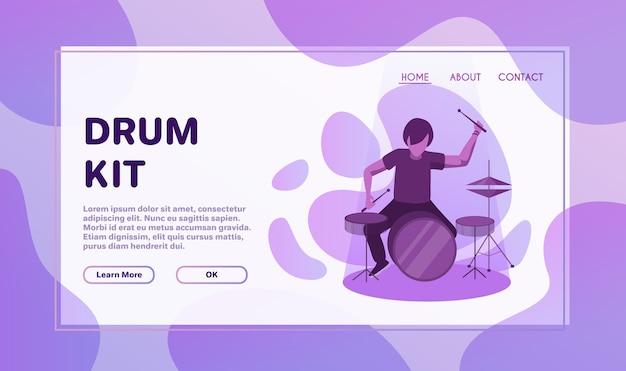 Ilustración plana de actuación de banda de rock