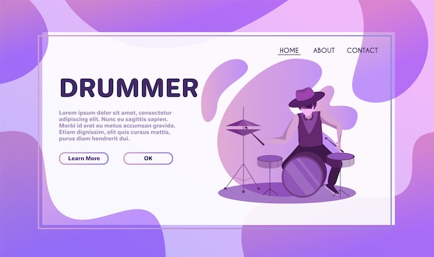 Ilustración plana de actuación de conjunto instrumental