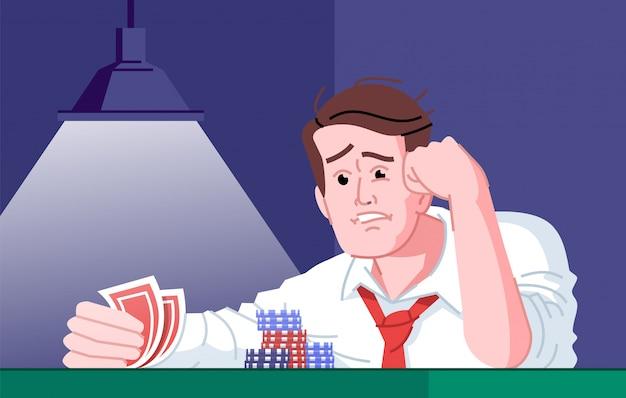 Ilustración plana de adicción al juego. dependencia del entretenimiento del casino. fracaso de los jugadores, día de mala suerte. obsesionado jugador de póker frustrado por perder personaje de dibujos animados del juego de cartas