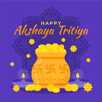 Ilustración plana akshaya tritiya