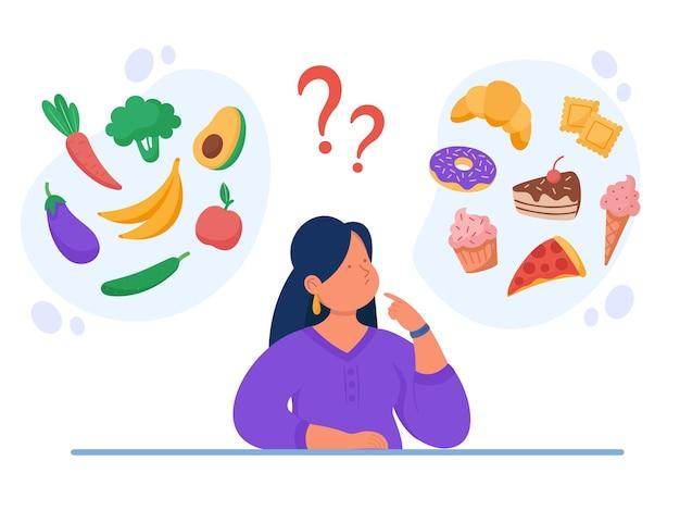 Ilustración plana de alimentos saludables vs no saludables