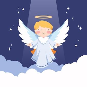 Ilustración plana de ángel de navidad